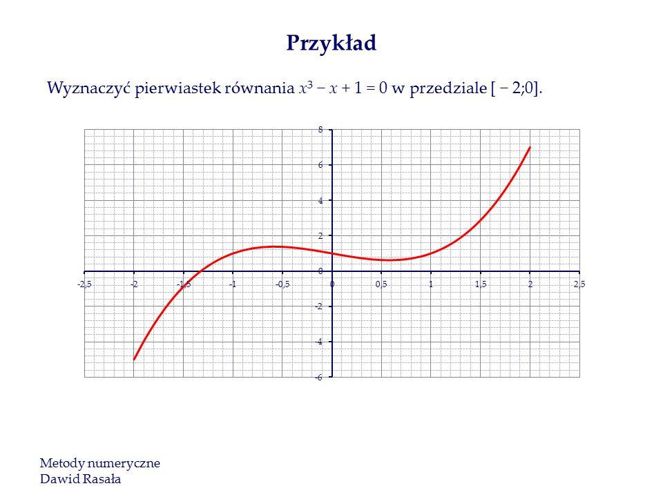 Przykład Wyznaczyć pierwiastek równania x3 − x + 1 = 0 w przedziale [ − 2;0].